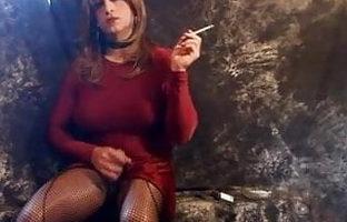 Lisa smokes and strokes