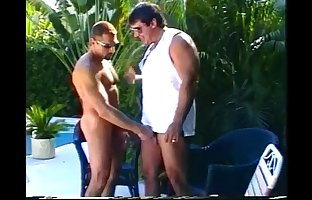 Muscled daddy bears enjoying sleazy outdoor cock eating..